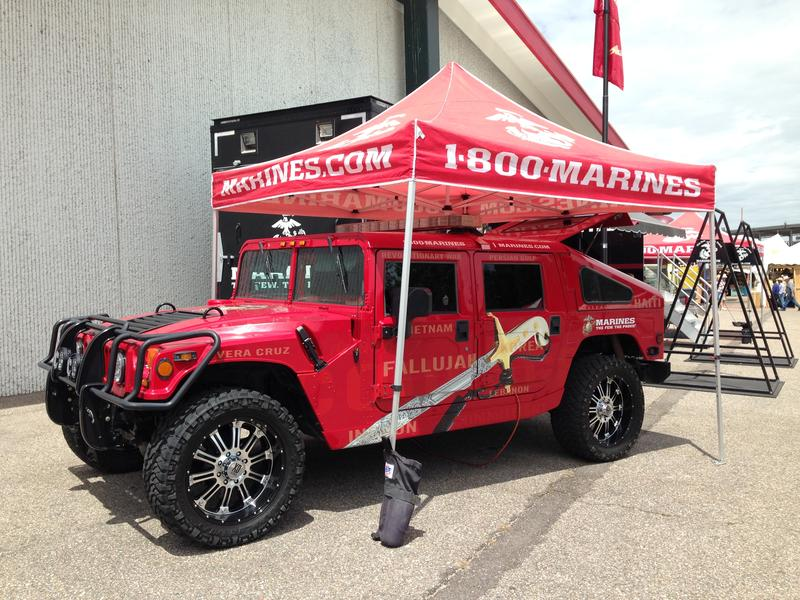 A colorful Marines humvee is one of many vehicles on display at Frontier Days.