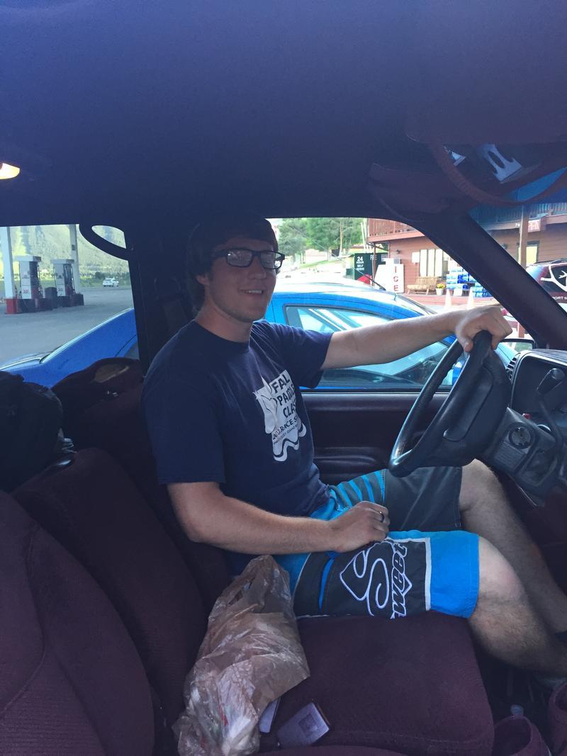 Joshua Landon in his SUV where he sleeps