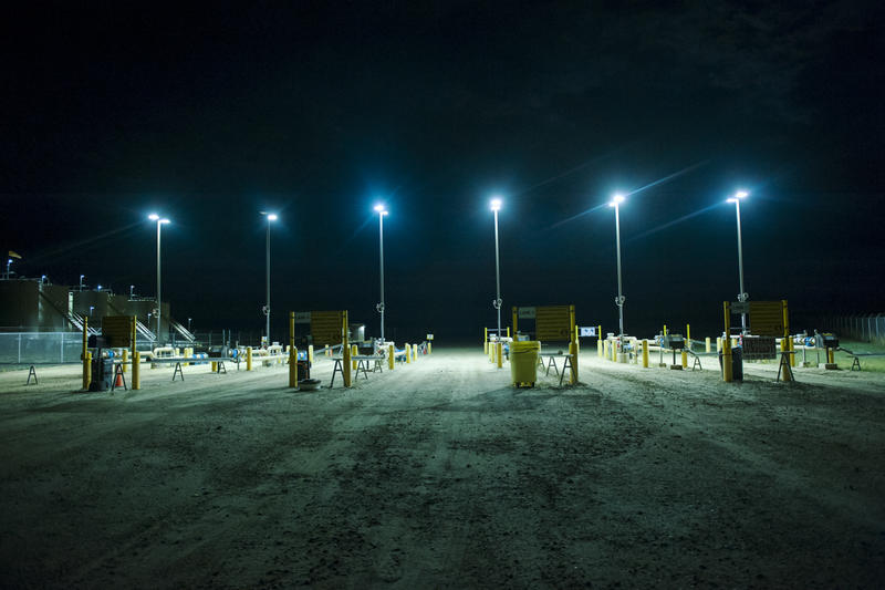 Downward-facing lights, like these at an oil shipping terminal in Fryburg, North Dakota, help prevent light pollution.