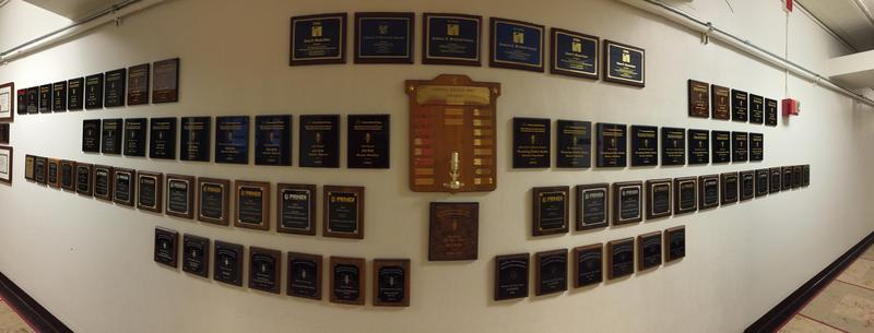 """Our """"awards wall"""" displaying the various awards the news department has received throughout the years."""