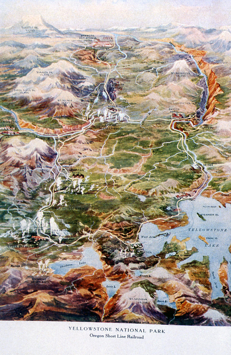 "Illustrated map of Yellowstone found in the Oregon Short Line brochure ""Where Gush the Geysers""; Artist unknown; 1910"