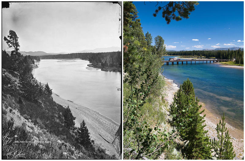 LEFT No. 266. Yellowstone River where it leaves the lake. RIGHT Fishing Bridge now spans the Yellowstone River just north of where it exits Yellowstone Lake, and trees and other vegetation line the steep west riverbank in the foreground.