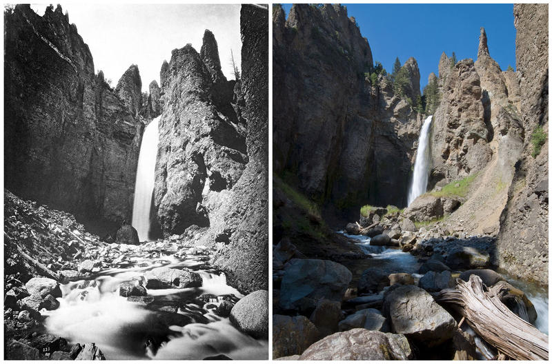 LEFT No. 233. Tower Falls, near view from near its base.  RIGHT The stones and boulders in Tower Creek as it flows away from Tower Fall have been shifted by decades of spring runoffs.