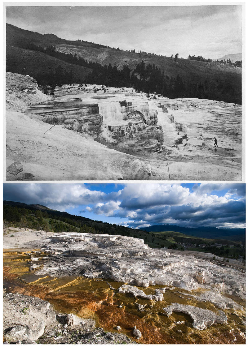 TOP No. 214. White Mountain Hot Springs, Group of lower basins. BOTTOM Several of Jackson's images at Mammoth Hot Springs were re-photographed at a wider field of view in order to show almost a century and a half of growth and expansion.