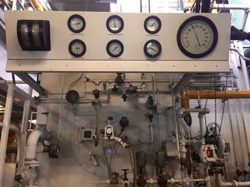 Gauges allow operators and the University of Wyoming's Central Energy Plant to monitor pressure inside this natural gas boiler.