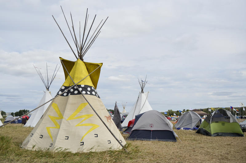 People continue to camp in tepees and tents along the Cannonball River in North Dakota to protest the Dakota Access Pipeline. The oil pipeline is slated to cross through Army Corps of Engineers land about a mile from this camp.