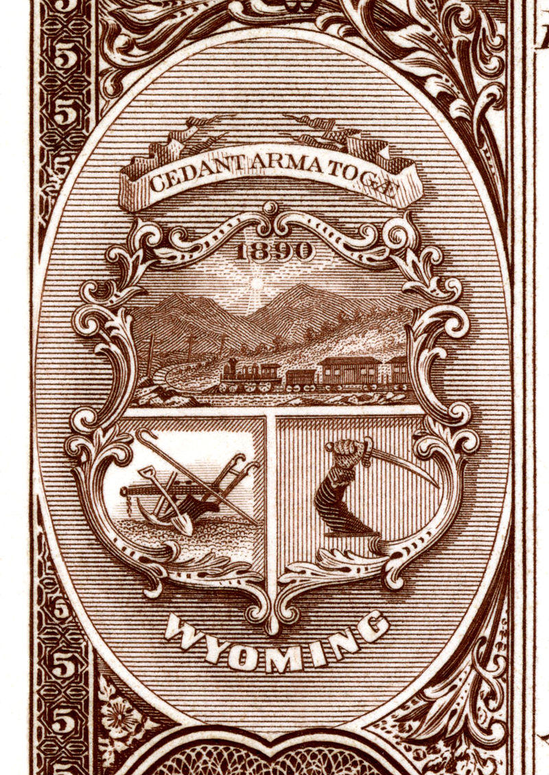 Wyoming state seal (first type) depicted on the reverse of Series 1882BB National Bank Notes. From the Bureau of Engraving and Printing certified proofs.