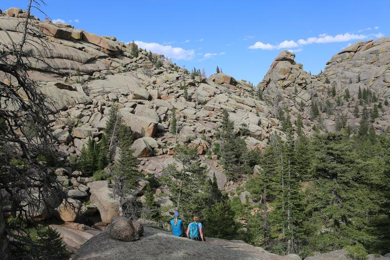 Darley Newman hiking at Vedauwoo in Wyoming with Rebecca Walsh of Hike Like A Woman.