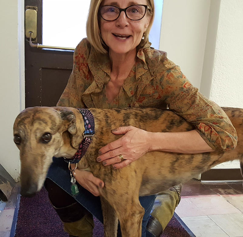 Our Corporate Development Manager Dianne with our Director of Engineering Paul Montoya's greyhound, Sage.