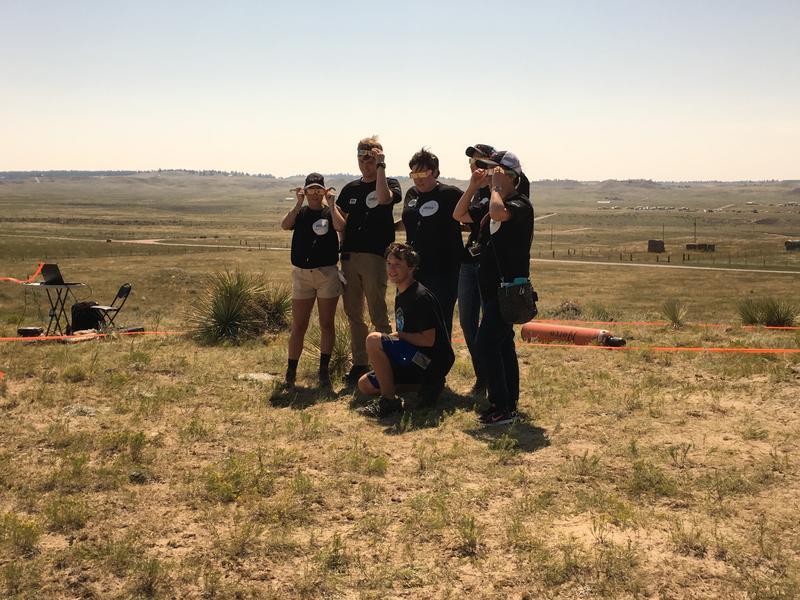 Students and staff with the Montana Space Grant Consortium just before the eclipse