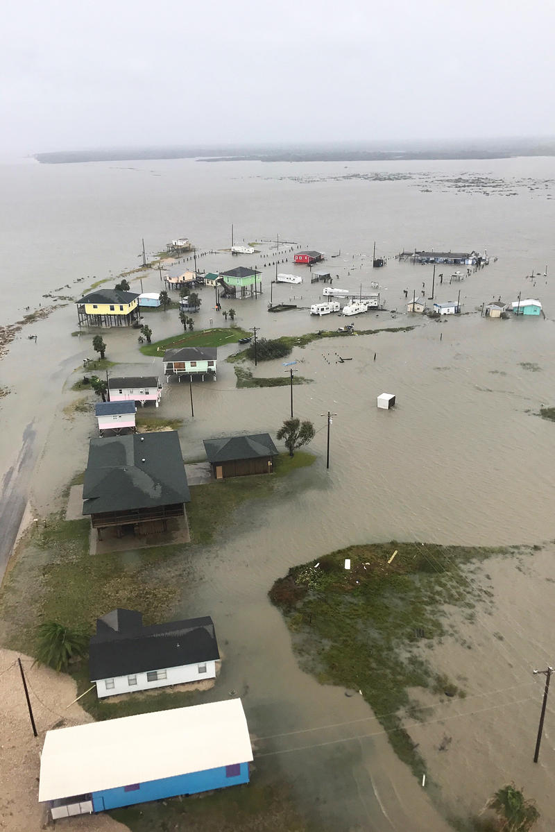 An aerial view shows severe flooding caused by Hurricane Harvey near Rockport, Holiday Beach and Port Aransas, Texas, Aug. 27, 2017.