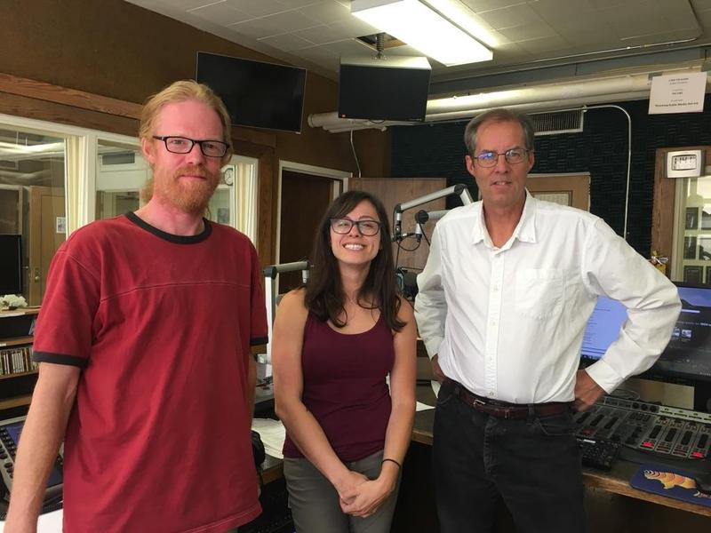 Lia Menaker with our sound engineer Ben Slater (L) and host Grady Kirkpatrick (R)