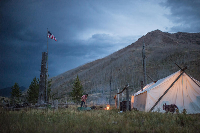 Backcountry field camp. Photographer Joe Riis worked with Cody, WY guides and outfitter Lee Livingston for his elk migration fieldwork.