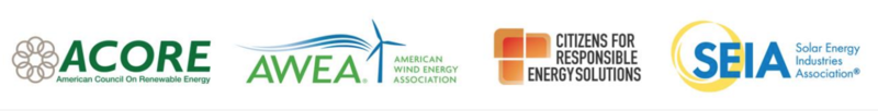 Renewable energy organizations who signed a letter opposing certain provisions in the Congressional tax reform bills