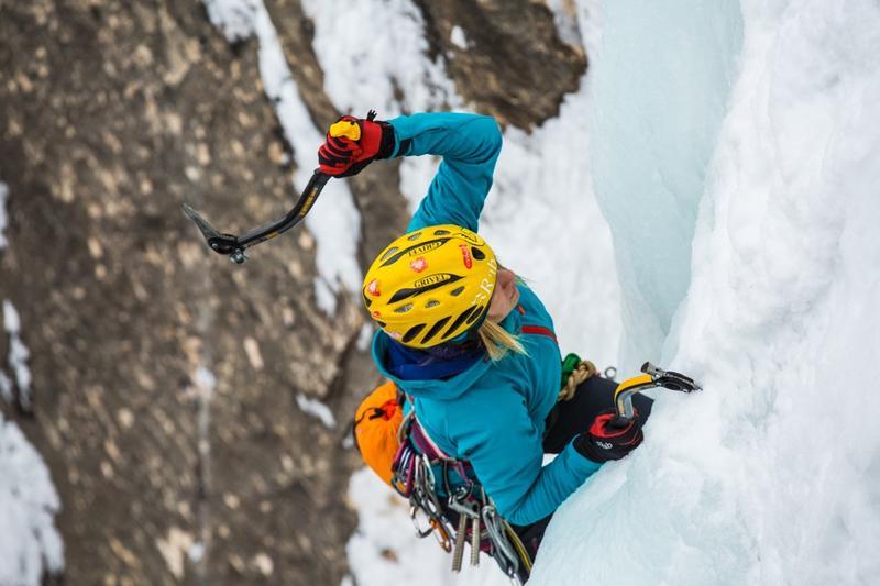 Angela Vanwiemeersch ice climbing.