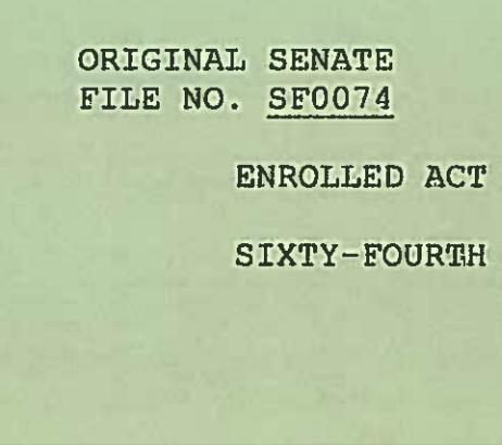 SF 74, image below Gov. Mead's veto letter