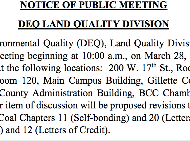 DEQ Notice of Public Meeting