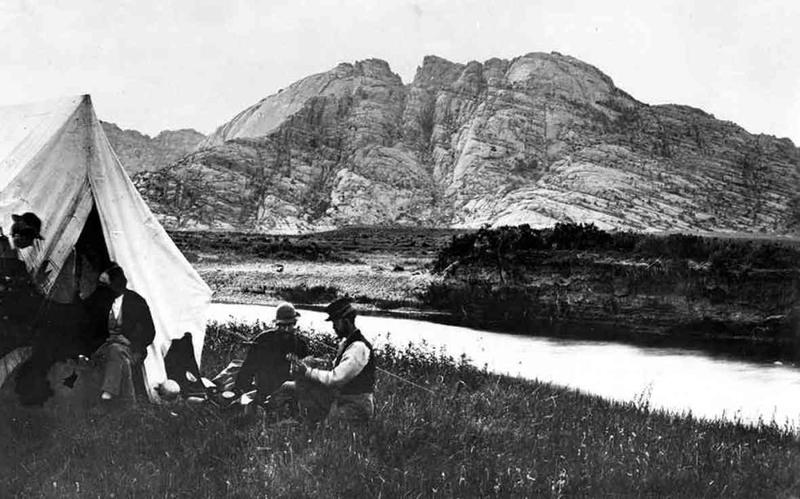 Pioneer photographer William Henry Jackson made  these two pictures in 1870, when he camped near  Split Rock in 1870 with members of the Hayden  Survey. USGS photo.