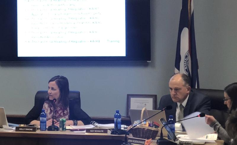 From left, Trustee Kelly Simone, Superintendent Ray Schulte and Trustee Jennifer Rosencranse discuss final changes to the CKA policy before voting.