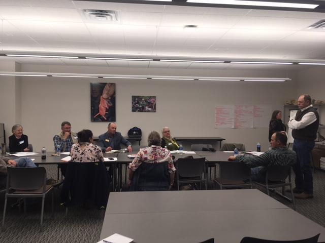 Public forum participants discuss agriculture in Casper College Student Union.