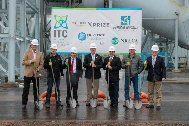Governor Matt Mead at the Integrated Test Center groundbreaking, standing with partners from Basin Electric Power Cooperative, Tri-State Generation and Transmission Association, the National Rural Electric Cooperative Association and the NRG COSIA Carbon