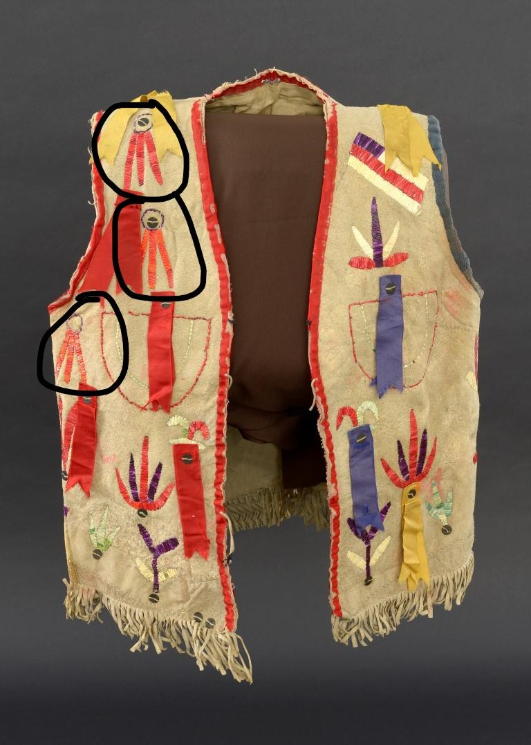 Vest (front and back), Santee Sioux, Center Plains, ca. 1880 Paul Dyck Buffalo Culture Collection NA.202.1445. Tanned Hide, dyed porcupine quills, silk ribbon, cotton cloth, silk cloth, wool cloth, metal sequins.