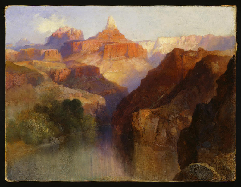 Thomas Moran (American, born England, 1837-1926). Zoroaster Peak (Grand Canyon, Arizona), 1918. Oil on canvas, 9 x 12 inches. Buffalo Bill Center of the West, Cody, Wyoming, USA. Purchased by the Board of Trustees in honor of Peter H. Hassrick. 11.96