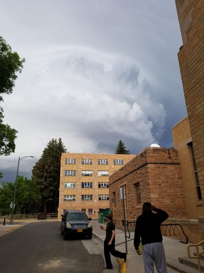 The tornado forming behind the University of Wyoming campus.