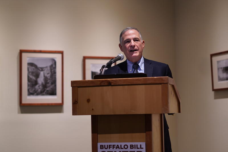 Steve Sanetti, president of the National Shooting Sports Foundation, speaks at the Buffalo Bill Center of the West on gun collections role in the current political climate