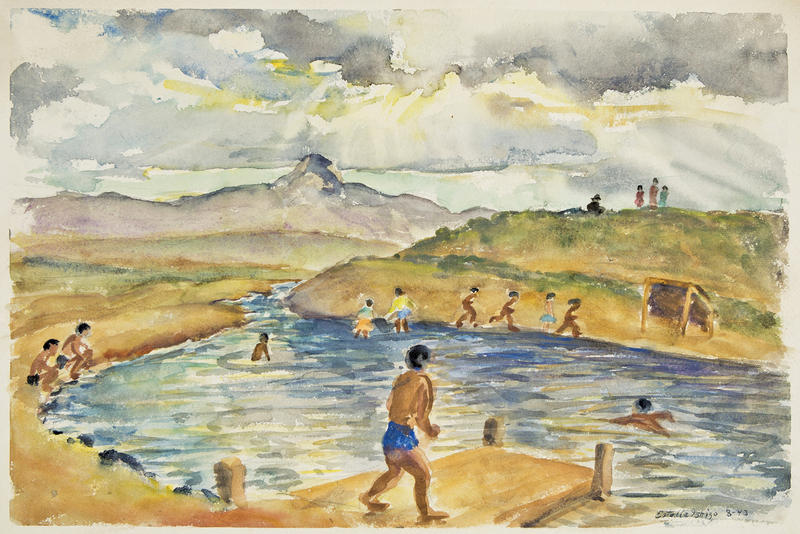 Watercolor by Estelle Ishigo (Courtesy of the Japanese American National Museum, Allen Eaton Collection)