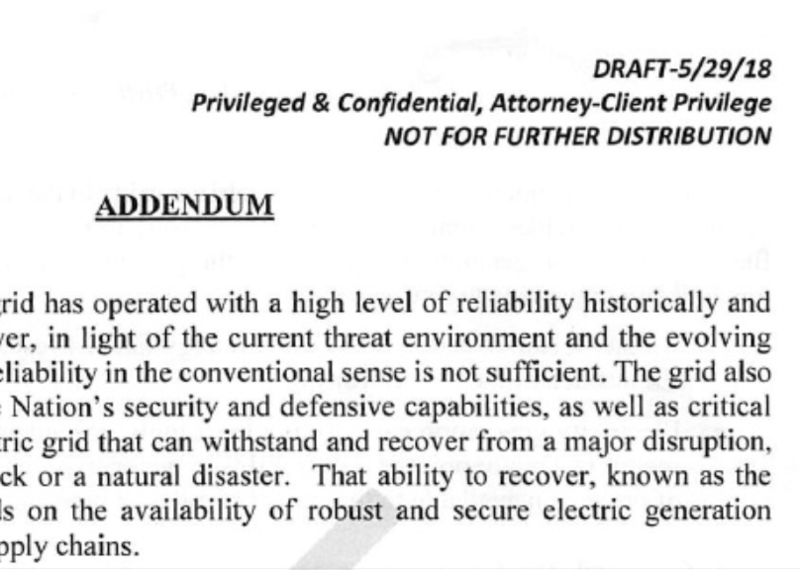 Screenshot of the leaked draft memo for a coal/nuclear bailout