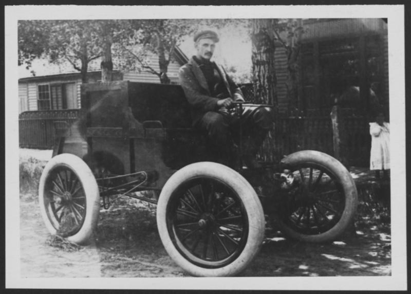 Elmer Lovejoy riding an 1897 Locomobile steamer. Box 1, Elmer Lovejoy papers.