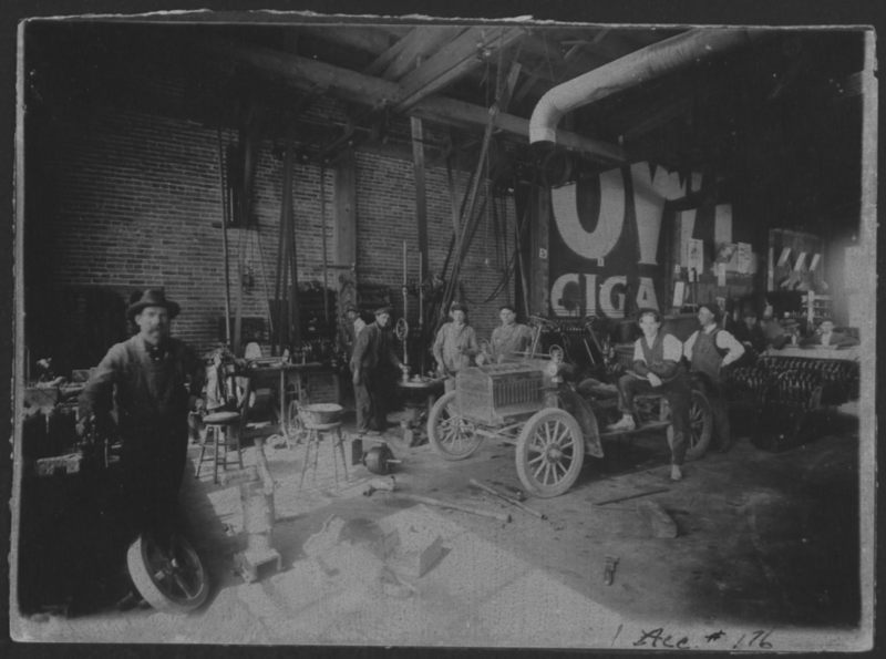 Interior of the machine shop at Lovejoy Novelty Works, 1908. Box 1, Elmer Lovejoy papers.