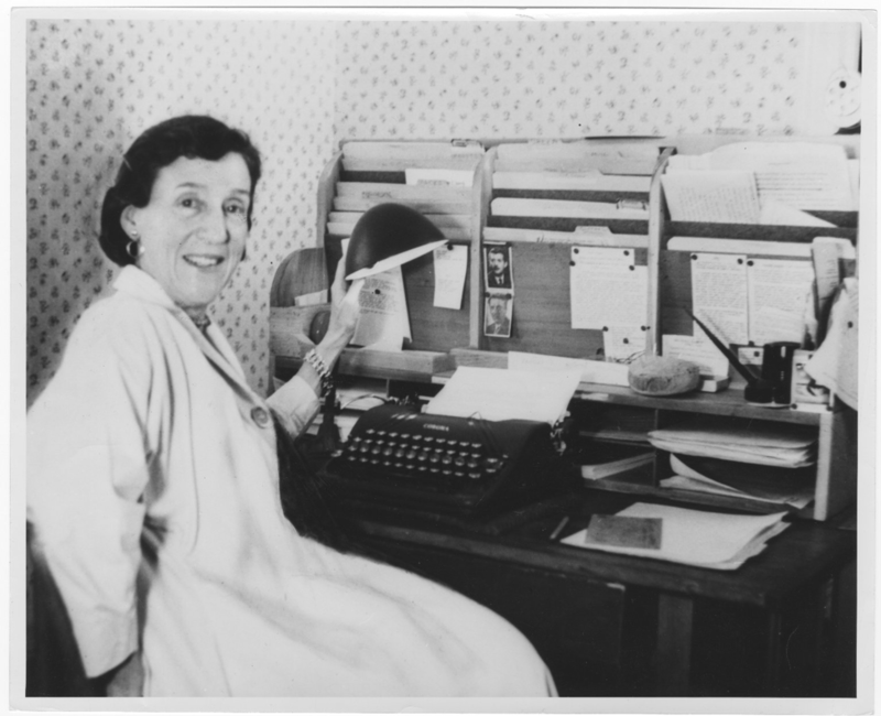 Portrait of Mary O'Hara sitting at a typewriter, undated. Mary O'Hara photo file.