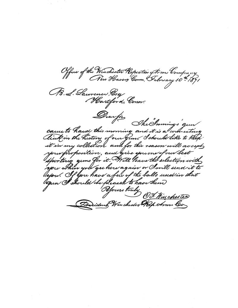 Letter from Oliver Winchester to R.S. Lawrence referring the Jennings Rifle.