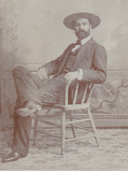 Photo of Owen Wister taken in Yellowstone, undated. Box 7, Owen Wister papers.