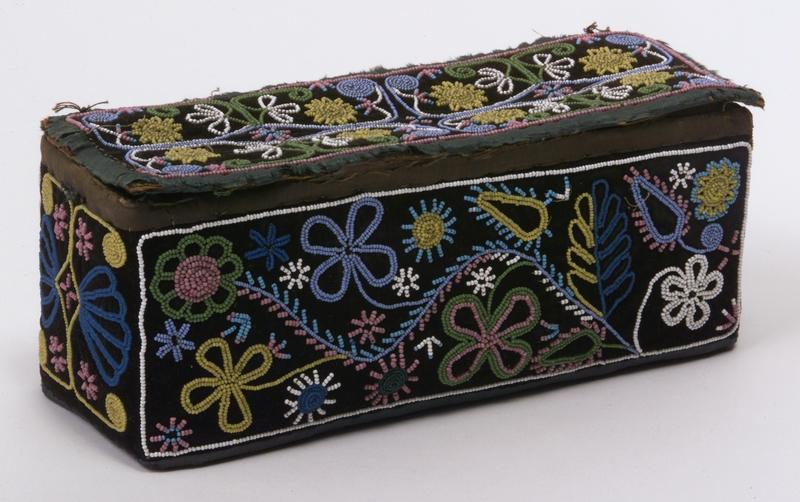 Box, Huron, Eastern Woodlands, ca. 1890.  Birch bark, Commercial cardboard, velvet cloth, glass beads, cotton thread. Chandler-Pohrt Collection, Gift of Mr. William D. Weiss, NA.106.247