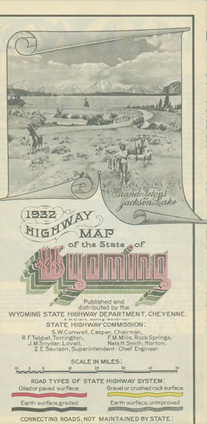 Cover of the 1932 Wyoming highway map that shows the legend of different road surfaces within the state highway system. Box 3, Frank H. Allyn papers.