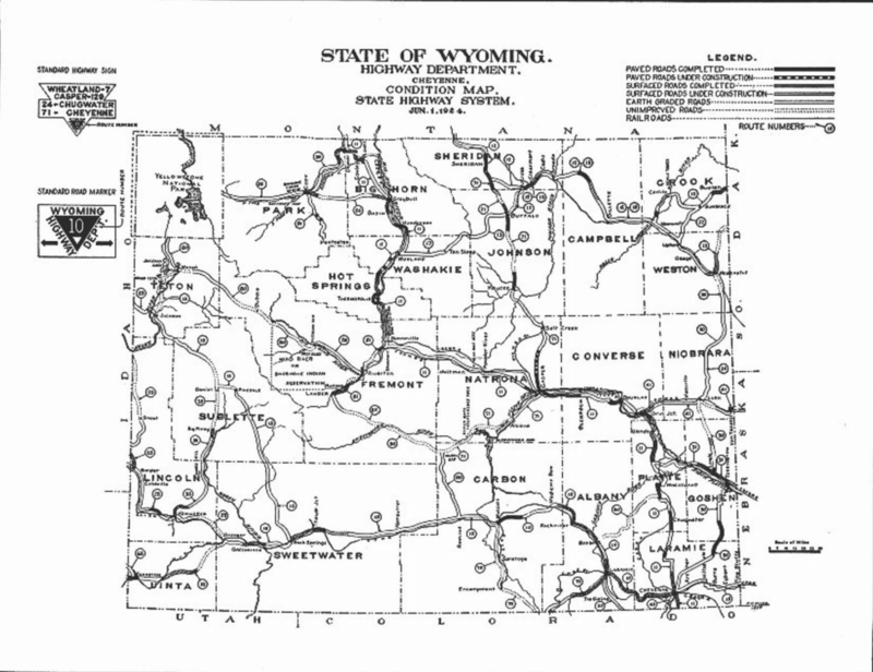1924 Wyoming highway map drawn by Frank Allyn. Box 3, Frank H. Allyn papers.