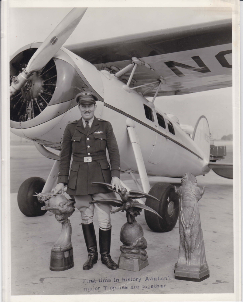 Roscoe Turner with trophies, 1930s. Box 113, Roscoe Turner papers.