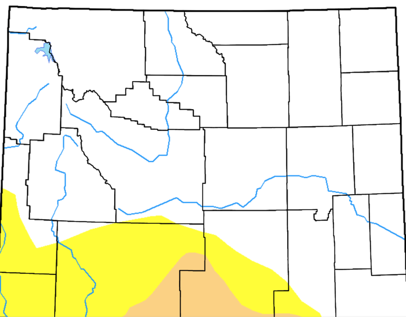 Drought monitor outlook of Wyoming