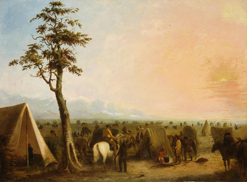 Alfred Jacob Miller (American, 1810-1874). Our Camp, ca. 1846-1860. Oil on canvas, 26.375 x 36 inches.