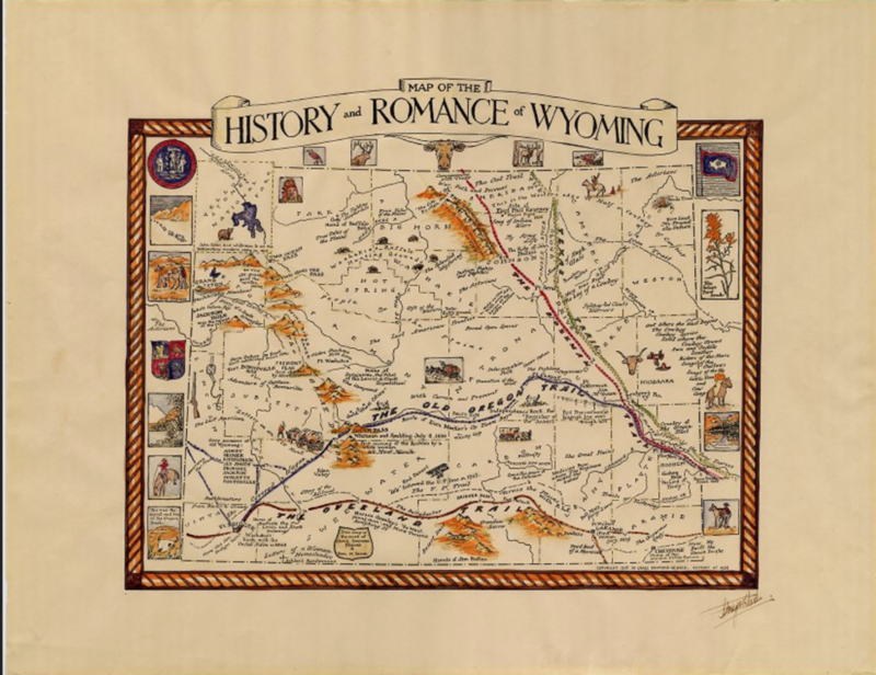 Hand-colored map depicting historical events in Wyoming with narrative written by historian Grace Raymond Hebard. Autographed by Hebard in the lower right corner, 1936. Box 71, Grace Raymond Hebard papers.