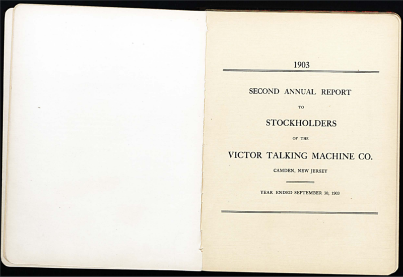 Report of Presidents to Stockholders of the Victor Talking Machine – discussing business related inquires. 1903. Box 32, Eldridge Reeves Johnson Papers.