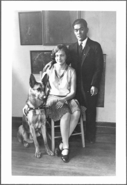 Before internment – Estelle and Arthur Ishigo as a young couple with a German Shepard, circa 1942-1945. Box 1, Estelle Ishigo photographs.