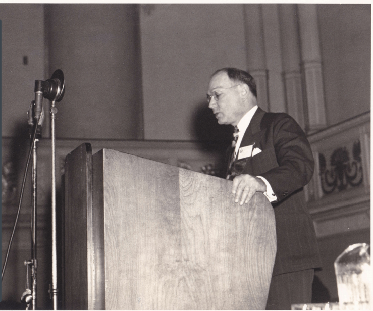Frank Wilson speaking at a ceremony, undated. Box 20, Frank Wilson Papers.