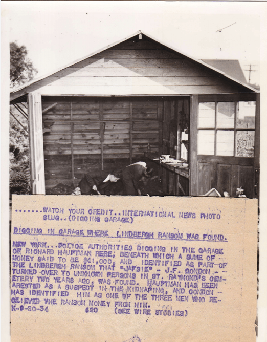 Hauptmann garage where authorities found Lindbergh ransom. 1934. Box 20, Frank Wilson Papers.