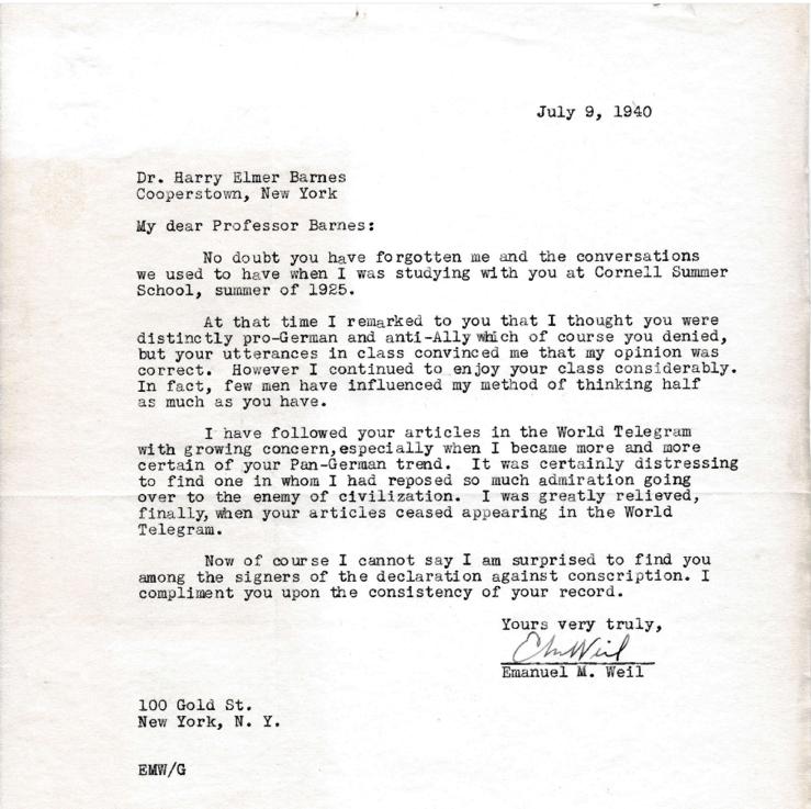 Letter from former student Emmanuel Well to Harry Elmer Barnes arguing against Barnes' interpretation and sympathy for Germany, 1940. Box 213, Harry Elmer Barnes papers.