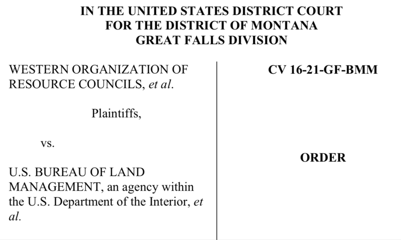 Order delivered July 31st, 2018 from the US District Court For the District of Montana Great Falls Division