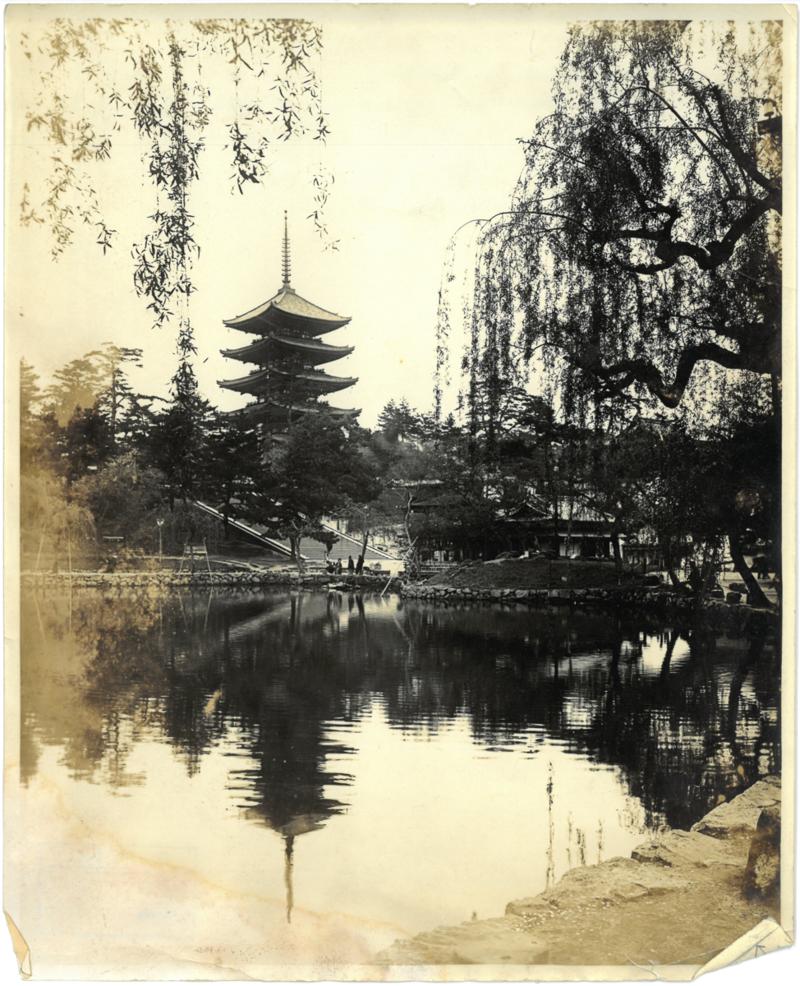 Pagoda and Sarusawa Pond at Nara, circa 1921. Box 20, Dorothy Eidlitz papers.